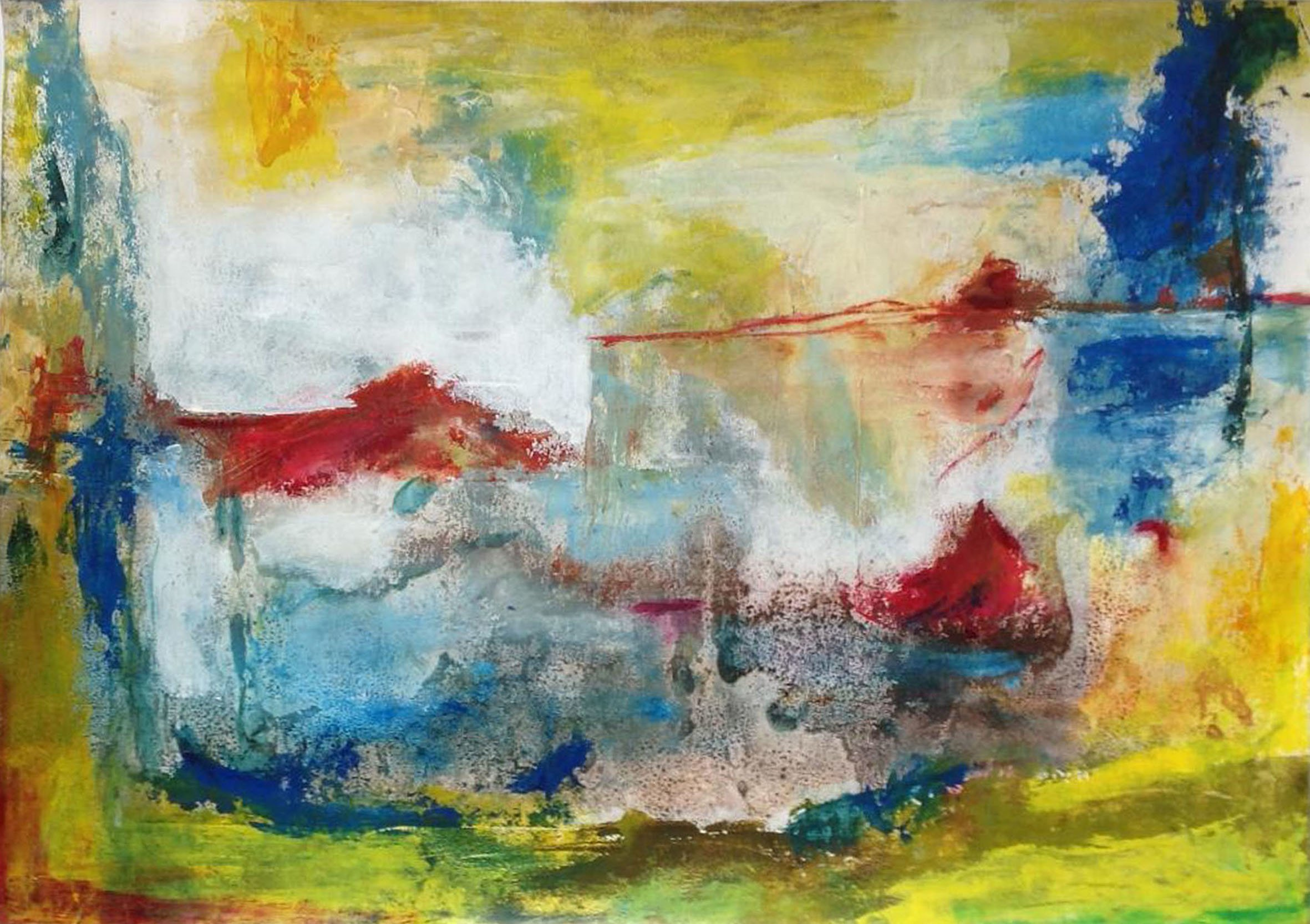 Ana Castro Feijoo: 'breezes', 2019 Mixed Media, Abstract. mixed media on paper, abstract landscape with oils and inks and textures...