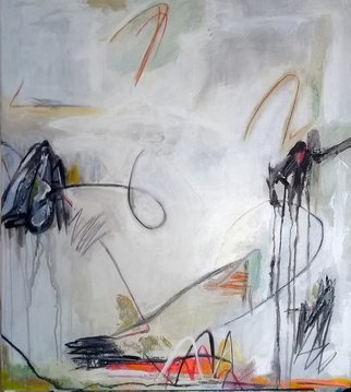 Ana Castro Feijoo: 'white brizees 2', 2020 Painting, Abstract. This work is part of the seriesThe color of the wind and a diptych with Brizees I, but it can also be individual and has its own imprint, it refers to flights, breezes, atmospherees, signs, it has something organic.  It is up to the viewer to interpreet and enjoy it...