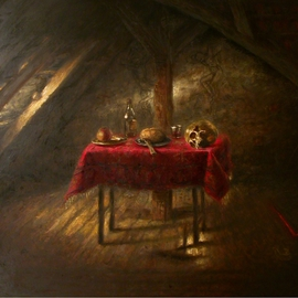Arnold Ananicz Ananiczius: 'Interior', 2003 Oil Painting, Biblical. Artist Description:  Still life in the interiour. ...