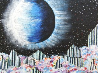 Andreea J: 'Natural Music', 2015 Acrylic Painting, Space.  music, canes, nature, planets, clouds, freedom, acrylic, painting ...