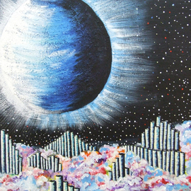 Andreea J: 'Natural Music', 2015 Acrylic Painting, Space. Artist Description:  music, canes, nature, planets, clouds, freedom, acrylic, painting ...