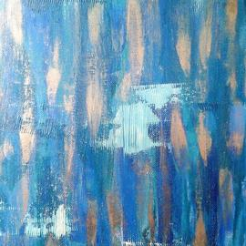 Andreea J: 'consciousness', 2017 Acrylic Painting, Abstract. Artist Description: blue, cold, thoughts, sad, gold, abstract, acrylic, ...