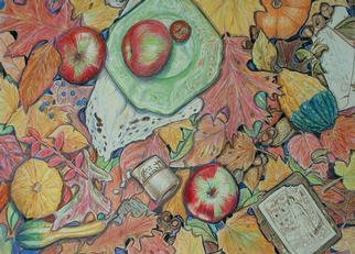 Still Life Pencil Drawing by Andree Lisette Herz Title: Appletime, created in 2003