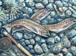 Andree Lisette Herz: 'Shore Lunch', 2004 Acrylic Painting, Fish. Painting of shoreline of the Delaware River with rainbow trout...