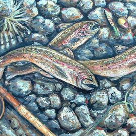 Andree Lisette Herz: 'Shore Lunch', 2004 Acrylic Painting, Fish. Artist Description: Painting of shoreline of the Delaware River with rainbow trout...