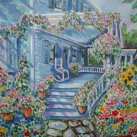 blue house with flowers  By Andree Lisette Herz