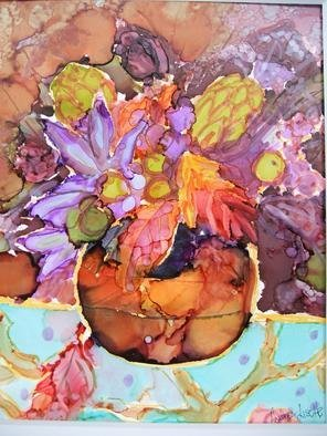 Andree Lisette Herz: 'fall bloom', 2013 Ink Painting, nature.                                   . alcohol ink  painted with q tips on yupo                                             ...