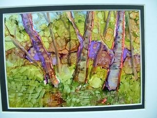 Andree Lisette Herz: 'green woods', 2013 Ink Painting, Landscape.          . alcohol ink  painted with q tips on yupo                    ...