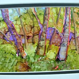 Andree Lisette Herz: 'green woods', 2013 Ink Painting, Landscape. Artist Description:          . alcohol ink  painted with q tips on yupo                    ...