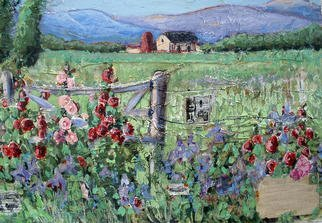 Collage by Andree Lisette Herz titled: hollyhocks, 2003