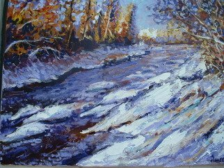 Andree Lisette Herz: 'purpledayz', 2009 Acrylic Painting, Landscape.  snowey stream on canvas with wrapped sides. ...