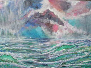 Andree Lisette Herz: 'storm at sea', 2007 Acrylic Painting, Beach.  late day storm at sea , on gallert wrapped canvas all edges painted so no frame needed ...