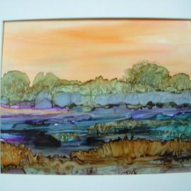 Andree Lisette Herz Artwork sunset field, 2013 Ink Painting, Landscape