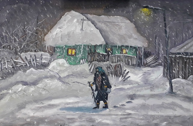 Andrei Balau  'Old Lady In A Blizzard', created in 2019, Original Painting Oil.