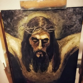 Andrei Balau: 'the passion of the christ', 2019 Oil Painting, Christian. Artist Description: This is my version of the crucifiction. The painting give you a particular feeling,  as it involves peace and pain at the same time. ...
