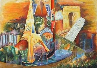 Andrei  Dobos: 'europe', 2018 Oil Painting, Cityscape. Artist Description: This painting is one of a king cubist painting incorporating several of the most common European buildings, like Tour Eiffel in Paris, a Gondole in Venice, Tower of Pisa, The Pantheon in Athens and so on. It is a stable triangular composition....