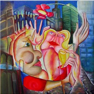 Andrei  Dobos: 'love in ny', 2017 Oil Painting, Love. Artist Description: The painting represents a fictional scene, a love story, in the city that never sleeps New York. The masculine character, the boy plays with the feminine character, a beautiful girl, giving her a flower but far above her head so that she must stretch to catch it.The ...