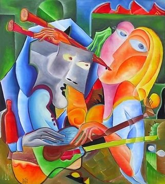 Andrei  Dobos: 'song in two', 2017 Oil Painting, Love. Artist Description: The painting describes a place where a boy and a girl play a game of love, the man is shy but tries to get to know the girl while the girl seems not interested. The dual nature of the scene is drawn using musical instruments that each have ...