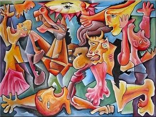 Andrei  Dobos: 'the fight', 2016 Oil Painting, Representational. Artist Description: The painting is a reinterpretation in my own style of the famous painting of Picasso  Guernica . It is a beautiful and nice colored painting....