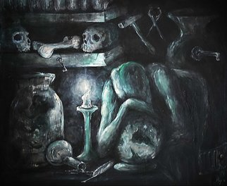 Andrei Moga: 'the alchemist', 2014 Oil Painting, Figurative. Artist Description: The Alchemist Is a great artwork of a deep inner struggle. That experience that defies human nature and makes a difference on the scale of the personal soul evolution of each individual in this world. In the painting are exposed the contrasts, metaphorically, emphasizing the split of body, ...