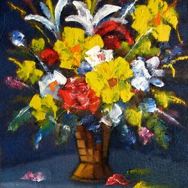 Andrei Mudrea: 'Bouquet XXX', 2010 Oil Painting, Still Life. Artist Description:  2010 Masterpiece, this one is one of my favorite still life artwork, inspired by a thought of how small and simple a life such as this can be very eternally beautiful.Details: oil on cardboard, mixed tech, original artwork ...