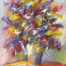 Andrei Mudrea: 'Still Life 3', 2008 Oil Painting, Still Life. Artist Description:  From the 2008 series of stills, I' m always fascinated with floral arts, the lively colors interacting with the varied shapes and pattern of a flower is just simply captivating.Details: Oil on canvas, original art ...