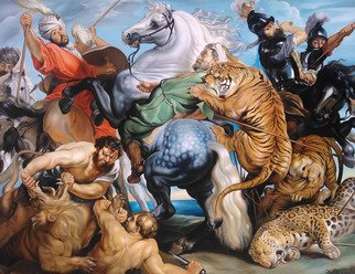 Andre Kazarian: 'The Tiger Lion and Leopard Hunt', 2015 Oil Painting, undecided.