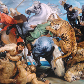 Andre Kazarian Artwork The Tiger Lion and Leopard Hunt, 2015 Oil Painting, Undecided