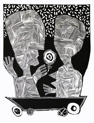 Andre Nod: 'love meeting', 2013 Linoleum Cut, Abstract Figurative. Artist Description: love journey...