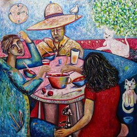 Andrew Osta: 'Dinner With Toller Cranston', 2012 Oil Painting, Famous People. Artist Description:  Andrew Osta, Girlfriend, and Toller Cranston ( canadian 6 time figure skating champion) having the traditional Russian Borsch at the artist' s Mexico studio, with cats looking on ...