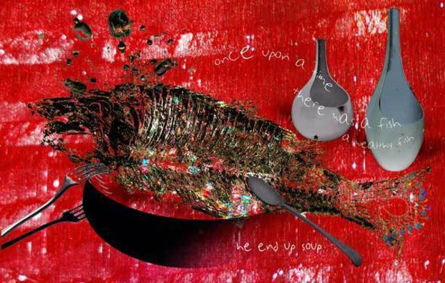 Irina Andreea Gherghel  'The Rich Fish', created in 2007, Original Mixed Media.