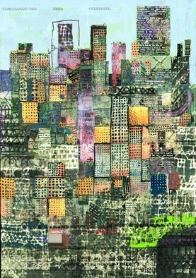 Andrew Mercer: 'metropolis green', 2018 Digital Print, Urban. Artist Description: A work based on the shapes colours and textures of the city. ...