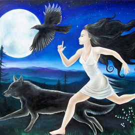 Angela Ferreira: 'Running Free', 2009 Oil Painting, Archetypal. Artist Description:  Running, free, freedoom, wolf, nature, woods ...