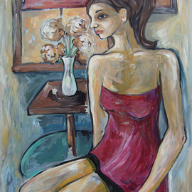 Angela Thomson: 'Time Alone', 2009 Acrylic Painting, Figurative. Artist Description:  This is original painting on Masonite. It is currently unframed but I could have it framed at your request. ...