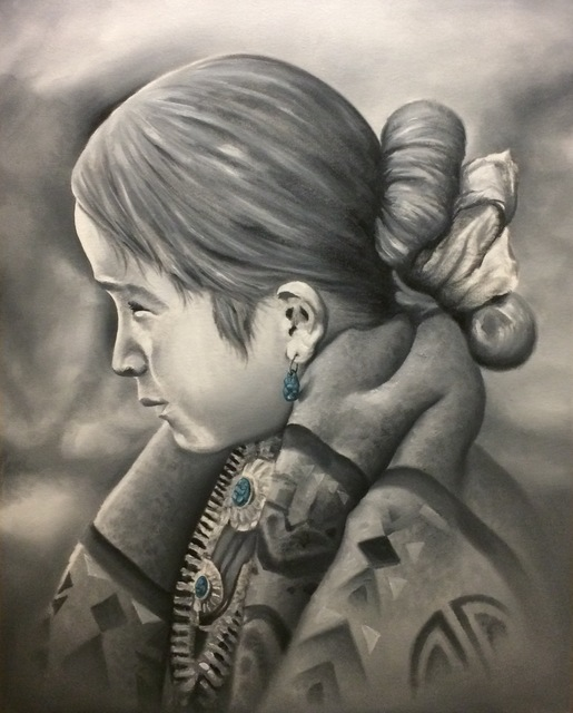 Angelo Lovato  'Little Navajo Girl', created in 2017, Original Painting Oil.