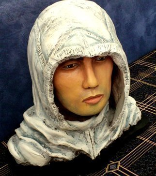 Angel Piangelo Papangelou: 'ALTAIR THE ASSASSIN', 2018 Mixed Media Sculpture, Fantasy. Artist Description: Original Sculpture by Angel P.Hand Painted with Acrylic colors.In Physical Human size.Theme inspired from the Assassin s Creed video game series.Sculpture materialCeramic Synthetic PorcelainGc Fuji Rock with black wooden Base. ...