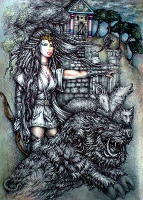 Angel Piangelo Papangelou: 'ARTEMIS and THE BEAST', 2018 Acrylic Painting, Mythology. Artist Description: Drawing - mixed Techniqueblack drawing pens, color pencils and acrylics - Very Difficult Technique, as black Permanent Pens were used that cannot be corrected or erased - Inspired from the Ancient Greek MythologyArtemis daughter of Zeus and Goddess of Hunt sent the wild Boar beast to kill Adonis as a punishment, ...