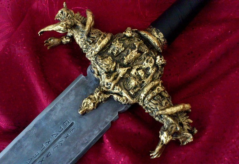Angel Piangelo Papangelou: 'DARK LEGACY Sword SCULPTED GOLD 22k', 2016 Steel Sculpture, Fantasy. SCULPTED ORIGINAL SWORD by Angel P. - GOLD PLATED 22k - REAL SWORD - UNIQUE in whole WORLD === A REAL ARTWORK GEM - DARK MEDIEVAL FANTASY ART - BREATHTAKING - SHOCKING - FANTASTIC - UNBELIEVABLE There is NO ONE else in recent History that has made a real SCULPTED SWORD and probably NO ONE else can make such ...