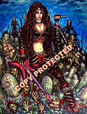 Angel Piangelo Papangelou: 'Rock Symphony 2 Horror T', 2019 Acrylic Painting, Fantasy. A Christmas OFFER Special Price Extra LOW PRICE ONLY for 1 month, until 10 NovemberROCK SYMPHONY II THE HORROR TRILOGY - Painting on Canvas mixed Technique - Theme inspired from the Hark Rock Glam Metal music of 80s and the Zombie Horror Movies of 80s 90s - DARK FRIGHTENING SCARY HOT and SEXY ...