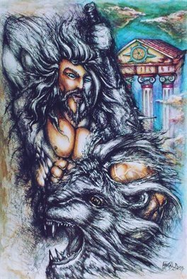 Angel Piangelo Papangelou: 'WRATH OF HERCULES', 2018 Acrylic Painting, Mythology. WRATH OF HERCULES - Painting Drawing - Heavy Aquarelle paper 250 g- UNIQUE Artwork, as a SPECIAL Technique was used to look like an Aquarelle Painting - mixed Technique with colored Pencils, black pens and acrylics - Extra Difficult Technique as black Permanent Pens were used for the Drawing part of the Painting impossible ...