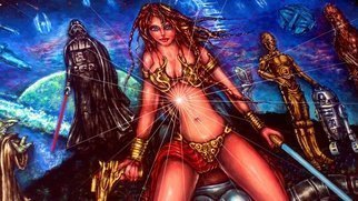 Angel Piangelo Papangelou: 'star wars legacy ii', 2019 Acrylic Painting, Fantasy. STAR WARS LEGACY II , by Angel P.  Painting with Acrylic colors 90and color pencils 10- a Unique Special Technique applied that makes the Painting looks like an oil Painting on a Canvas, although no oils used and also Permanent no needs for any protective glass Unique Amazing Hot Sexy Unbelievable - ...