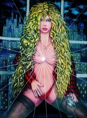 Angel Piangelo Papangelou: 'vicki vale in gc batman', 2018 Acrylic Painting, Nudes. Artist Description: A<< Vicki Vale in Gotham CityA>> by Angel P.   Painting   with Acrylic colors and color pencils - a Special and Unique Technique applied that makes the Painting looks like an oil Painting on a Canvas, although no oils used and also   more Permanent   needs no protective glass, alike the oil ...