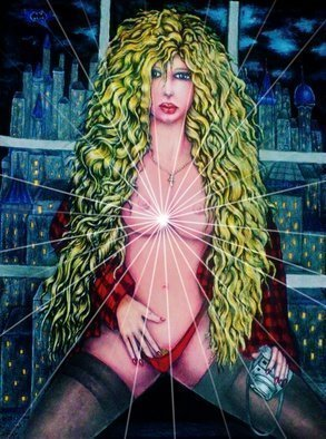 Angel Piangelo Papangelou: 'vicki vale in gc batman', 2018 Acrylic Painting, Nudes. A<< Vicki Vale in Gotham CityA>> by Angel P.  Painting with Acrylic colors and color pencils - a Special and Unique Technique applied that makes the Painting looks like an oil Painting on a Canvas, although no oils used and also more Permanent needs no protective glass, alike the oil Paintings Amazing...