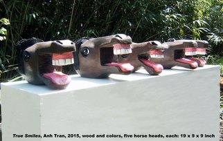 Anh Tran: 'True Smiles 2', 2015 Wood Sculpture, Humor. Artist Description:     The sculpture created from my dream at which Horses smiled at me. How lovely and true of horse smiles are. Rarely I see animal smile except pleasure of sexing. These are the very true smiles. Human beings is the same.   ...