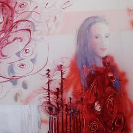 Anna Zygmunt : 'SPIRALS', 2011 Oil Painting, Portrait. Artist Description:   delicate painting of a female figure in a scene populated by surreal fantasy spirals circling in the air and all within a scene dominated by light.             ...