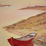 Red Boat and River By Animesh Roy