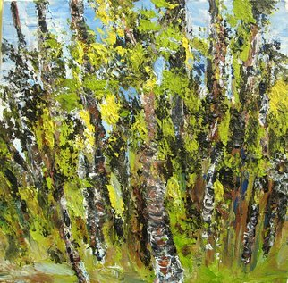 Landscape Acrylic Painting by Animesh Roy Title: Trees, created in 2006