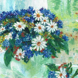 Marina Kalabukhov: 'bouquet of chamomile cornflowers and strawberries', 2015 Oil Painting, Floral. Artist Description:      Oil paintings: a bouquet of chamomile cornflowers and strawberries in a round vase on a windowsill  ...