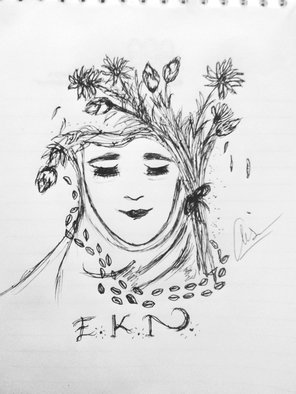 Anisa Juniardi: 'ekn and her thought', 2018 Pen Drawing, Beauty. E. K. N is my best friend and she was beautiful lady with lot of thoughts on her mind.  ...