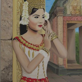Ana Maria Garcia Ruiz: 'Apsara', 2011 Oil Painting, Figurative. Artist Description:  Apsara  Oil painting on canvas 60x40, 2011, cambodian women for colletion women of the world. Cambodia   ...